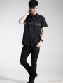 Black Gothic Men Punk Basic Short Sleeves Shirt