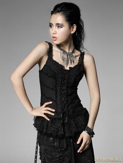 Black Gothic Punk Women Woven Cotton Tank Top