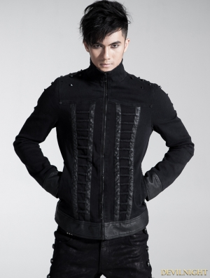 Black Gothic Men Coarse Cotton Rope Spell Leather Coat