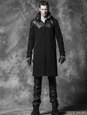 Black Gothic Spell Leather Long Coat For Men