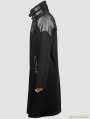 Black Gothic Spell Leather Long Coat For Men