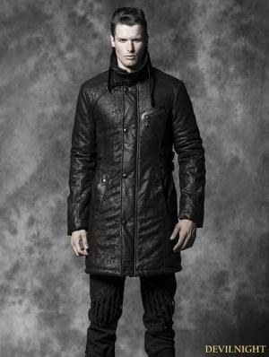 Black Gothic Crack Wash Long Coat For Men