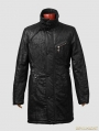 Black Gothic Crack Wash Long Coat For Men