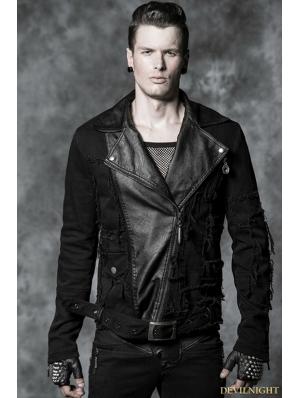 Black Gothic Mix-match Style Short Coat For Men