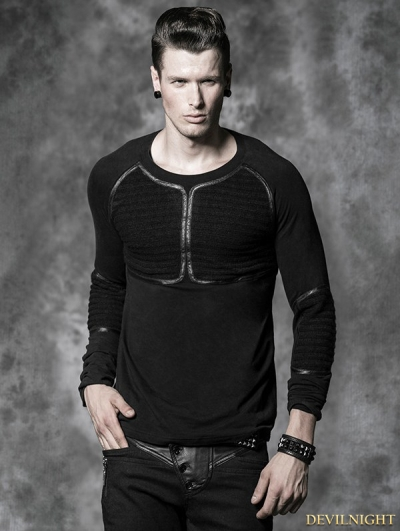 Black Gothic Men Basic Long Sleeves Woolen Shirt