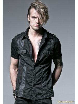 Black Gothic Punk Male Splicing Short Sleeves Shirt