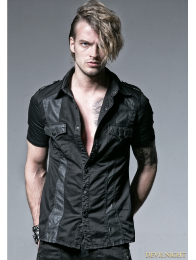 Black Gothic Punk Male Splicing Short Sleeves Shirt
