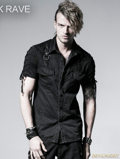Black Gothic Punk Male Rope-tieing Short Sleeves Shirt
