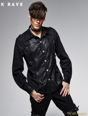 Black Gothic Spliced Leather Vintage Male Long Sleeves Shirt