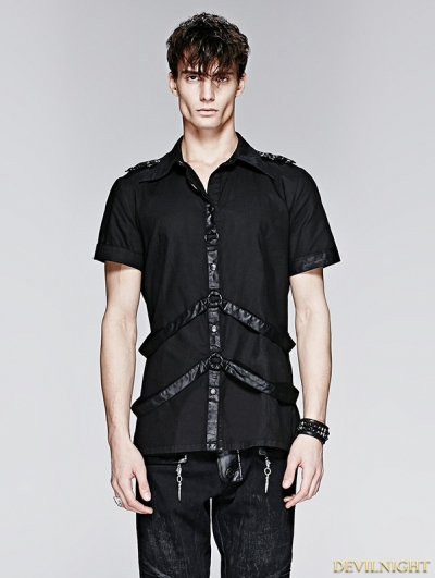 Black Gothic Man Short Sleeves Shirt With Leather Loops