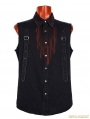 Black Gothic Demin Shirt With Drops Of Blood Pattern For Men