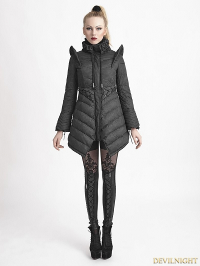 Black Gothic Flying Sleeves Long Down Coat For Women