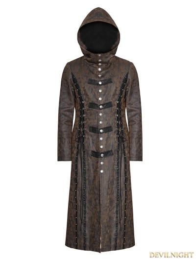 Dark Coffee Gothic Retro Style Leather Overlength Coat For Women