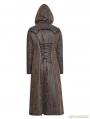Dark Coffee Gothic Retro Style Leather Overlength Coat For Women