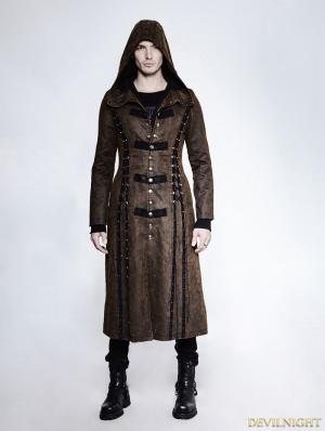 Dark Coffee Gothic Retro Style Leather Overlength Hoodie Coat For Men
