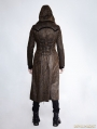 Dark Coffee Gothic Retro Style Leather Overlength Hoodie Coat For Men