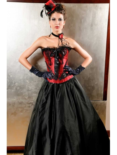 Red and Black Gothic Victorian Lace Overbust Corset
