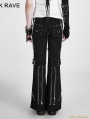 Fashion Punk Style Women' Black Bell-bottom Trousers Flared Pants