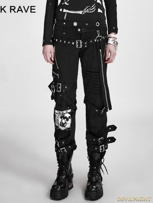 Black Gothic Boot-cut Women's Punk Trousers