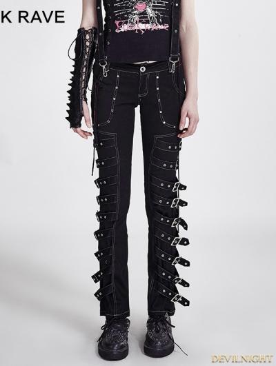 Black Gothic Punk Fashion Design Pants For Women