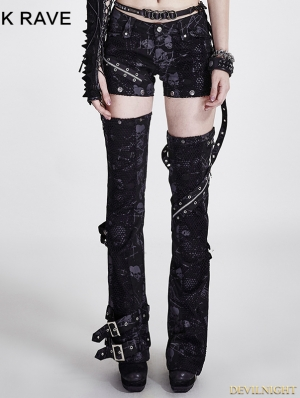 Black Gothic Cool Girls' Punk Trousers With Battered Holes