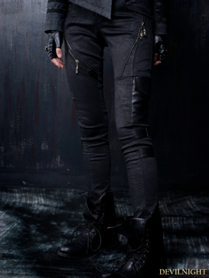 Black Gothic Leather Splicing Women Pants