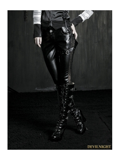 Gothic Black Women Lace Splicing Leather Pants