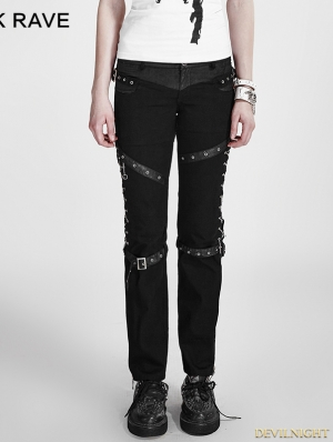 Gothic Punk Black Pants For Women