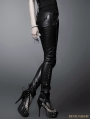 Black Gothic Washing Leather Pants For Women