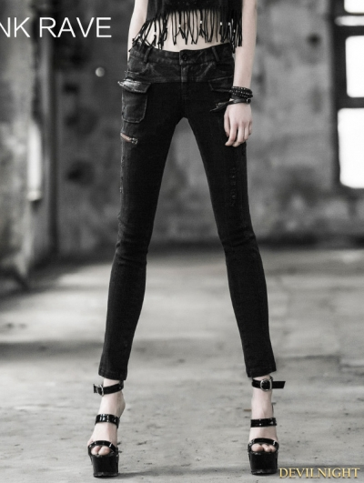 Gothic Punk Women Daily Look Tight Pencil Jeans