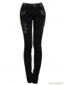 Women Black Gothic Corduroy Basic Pencil Pants