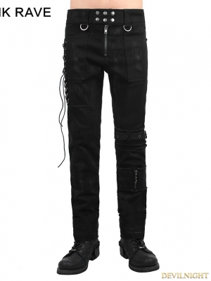 Black Gothic Punk Men Basic Pants