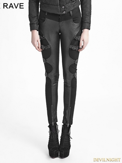 Black Gothic Women Warrior Pants With Futurism Style