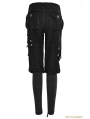 Black Gothic Workwear Multi Pockets Pants For Women