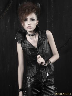 Gothic Black Washing Leather Locomotive Vest For Women