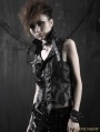 Gothic Black Washing Leather Locomotive Vest For Women