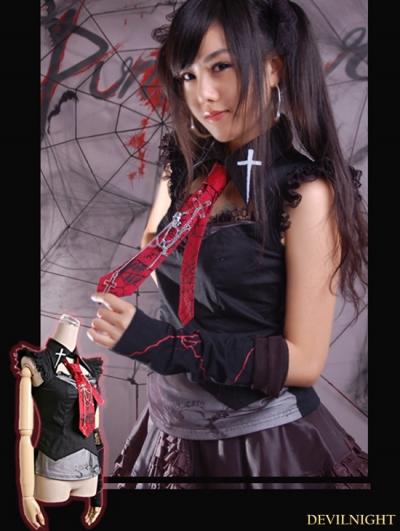 Black Gothic Lace Preppy Chic Vest For Women