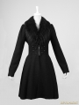 Black Gothic Big Fur Collar Woolen Knee Length Coat For Women