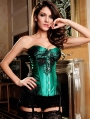 Green Lace Overbust Victorian Burlesque Corset