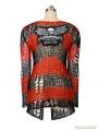 Women Black-Red Stripe Gothic Punk Cardigan Sweather Coat