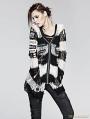 Women Black-White Stripe Gothic Punk Cardigan Sweather Coat