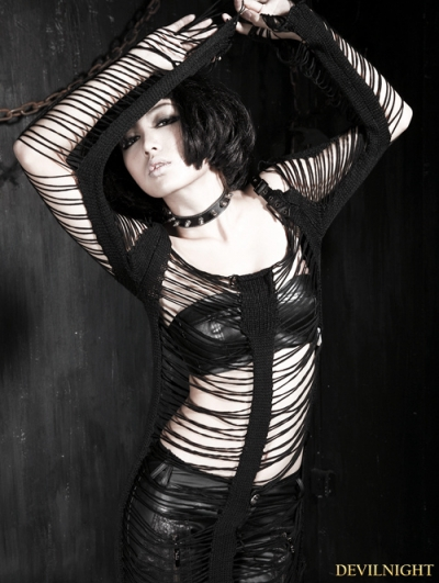 Black Gothic Punk Holes Strip Skeleton Sweather For Women