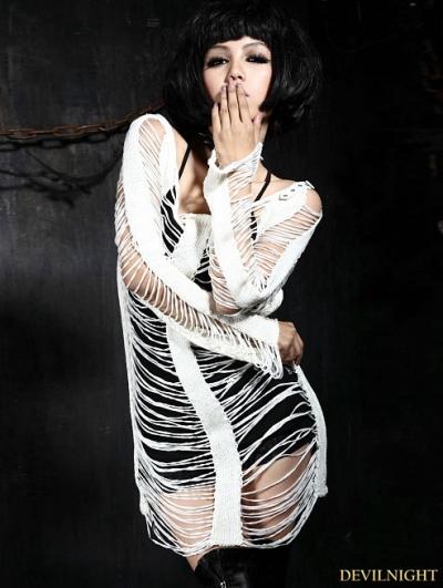 White Gothic Punk Holes Strip Skeleton Sweather For Women