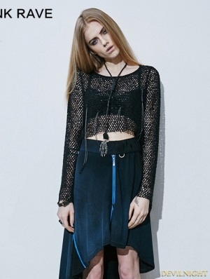 Black Gothic Knitted Mesh Tassels T-shirt For Women