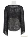 Black Gothic Knitted Mesh Tassels T-shirt For Women