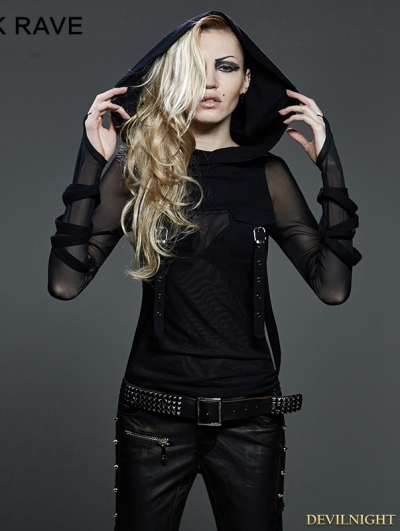 Gothic Dark Fashion T-shir with Big Hood For Women