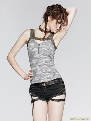 Gothic Vintage Gamouflage Knit Sleeves Vest For Women