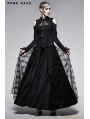 Gothic Black Stand-up Collar Retro Off-shoulder T-shirt For Women