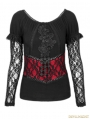 Romantic Gothic Black and Red Two Wear T-shirt for Women