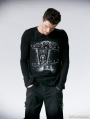 Black Gothic Printing Man T-shirt with Segmental Zipper